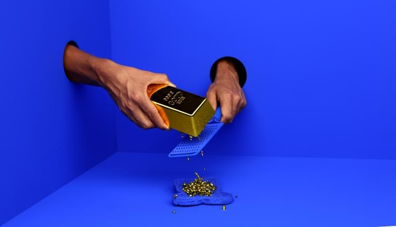 Gold bar on blue background